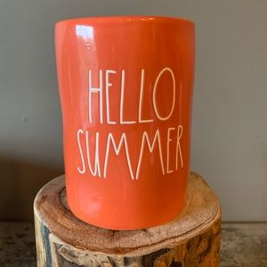 Rae Dunn HELLO SUMMER large Orange candle New